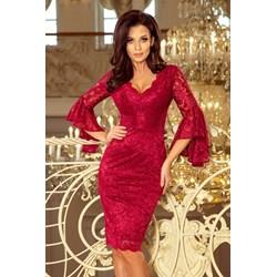 d49dbef0ea Sukienka Numoco do pracy dopasowana czerwona z długim rękawem midi wiosenna