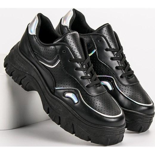 8aab3b08 Sneakersy damskie CzasNaButy młodzieżowe gładkie wiązane; Sneakersy damskie  CzasNaButy czarne ...