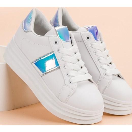 ef7bf3d1 ... Sneakersy damskie CzasNaButy młodzieżowe na platformie gładkie  sznurowane ...