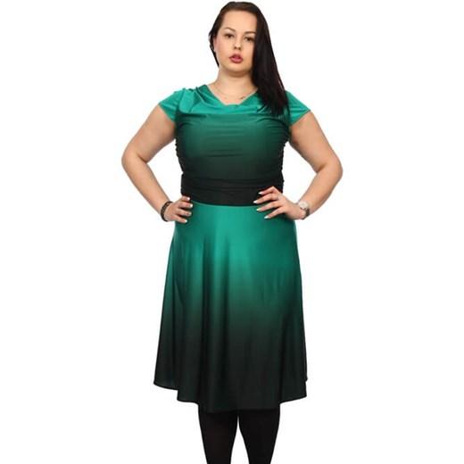 a159507775bb2b Sukienka midi zielona z okrągłym dekoltem z krótkim rękawem na urodziny