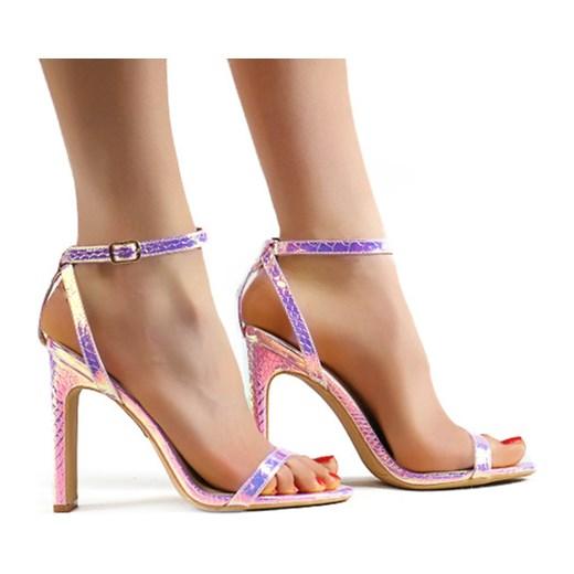 Seastar sandały damskie w zwierzęcy wzór na obcasie na wysokim Buty Damskie EC wielokolorowy Sandały damskie KETH