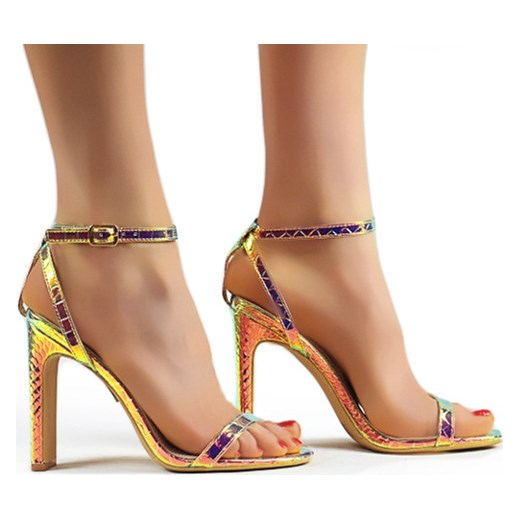 Sandały damskie Seastar ze skóry ekologicznej na wysokim obcasie w zwierzęcy wzór Buty Damskie VI żółty Sandały damskie VNQF