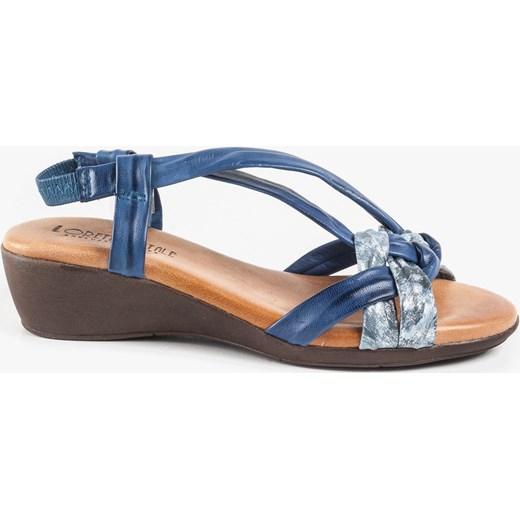Oleksy sandały damskie niebieskie skórzane casualowe na koturnie Buty Damskie FI niebieski Sandały damskie NEOW