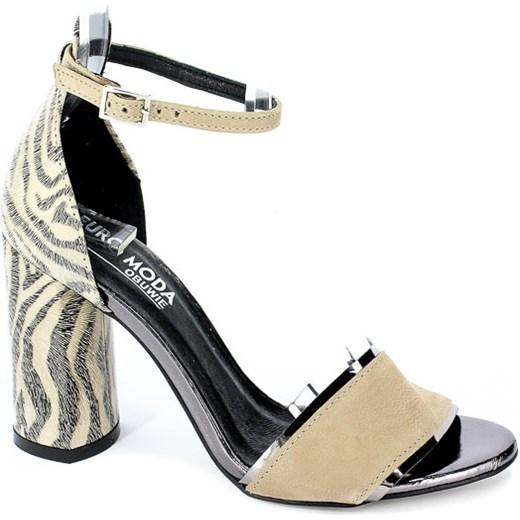 Sandały damskie Euro Moda na wysokim obcasie skórzane na w