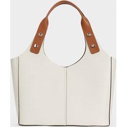 6d5c840292a78 Shopper bag Parfois na ramię ze skóry ekologicznej bez dodatków