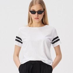 9334b7a578 Sinsay bluzka damska casualowa w paski biała z krótkim rękawem