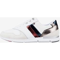 1f39b9facecd1 Buty sportowe damskie Tommy Hilfiger na fitness w stylu młodzieżowym białe  skórzane na koturnie
