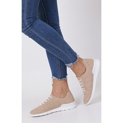 b7b59307 Buty sportowe damskie Casu beżowe gładkie wiązane