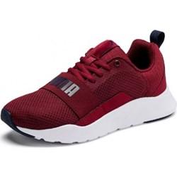 4b4919f52 Buty sportowe damskie czerwone Puma bez wzorów wiązane płaskie