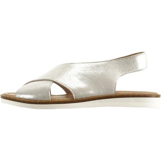 Srebrne sandały damskie Lanqier skórzane bez wzorów płaskie