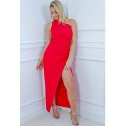 31e27b0383 Sukienka asymetryczna czerwona maxi elegancka z poliestru na karnawał bez  rękawów