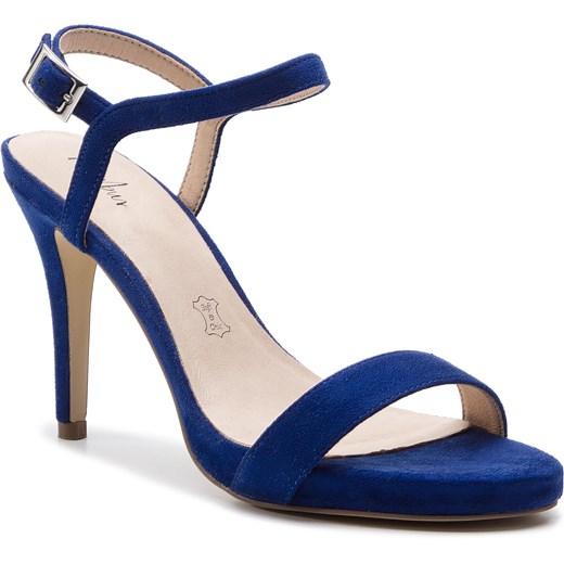 Sandały damskie niebieskie Menbur z klamrą gładkie na szpilce Buty Damskie PC niebieski Sandały damskie LKIN