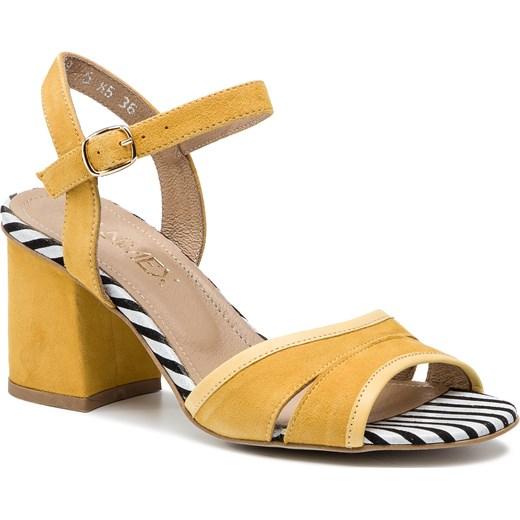 Żółte sandały damskie Ann-Mex gładkie na średnim obcasie na z klamrą Buty Damskie FL żółty Sandały damskie WQLQ