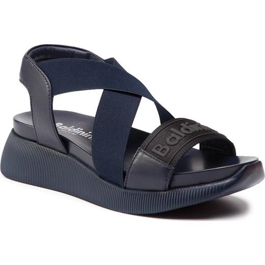 Sandały damskie Baldinini niebieskie z tworzywa sztucznego na rzepy gładkie na lato na platformie Buty Damskie NS niebieski Sandały damskie HNGC