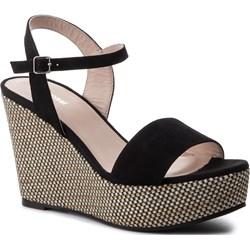 0cd220983865ce Gino Rossi sandały damskie na wysokim obcasie z klamrą z tkaniny ...