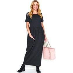 c906d80756 Czarna sukienka Makadamia z krótkim rękawem maxi poliestrowa na spacer  prosta