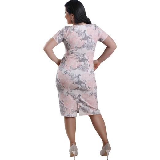 8eda32a846 ... P12 Elegancka ołówkowa sukienka w KWIATY biała Lamar 48 ...