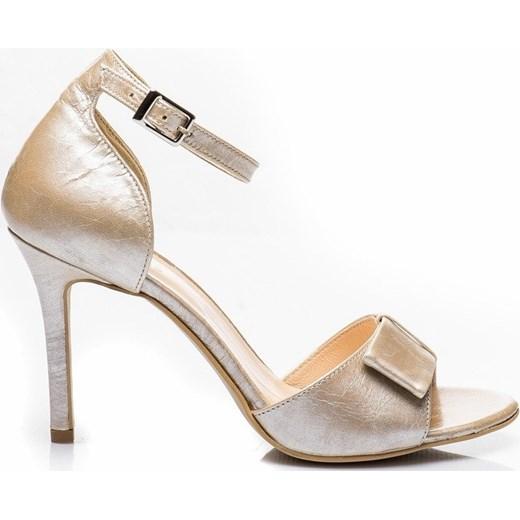 Sandały damskie Buty Palazzo srebrne z klamrą skórzane na