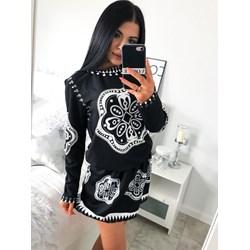 2423aa1b9c9dd3 Sukienka czarna Magmac w abstrakcyjnym wzorze mini
