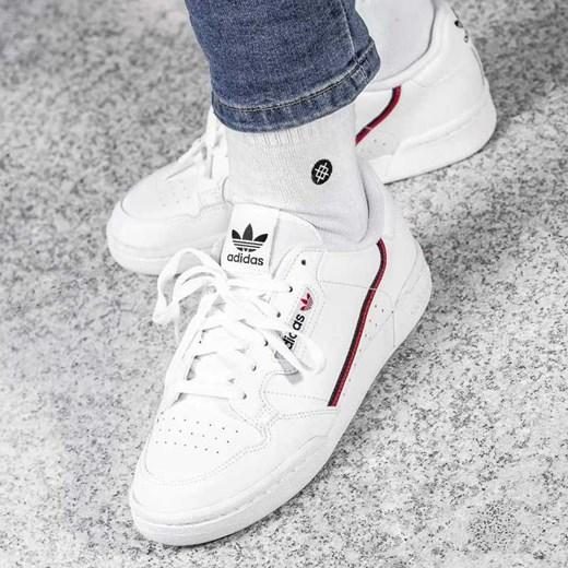 27129e083cc41 Trampki damskie Adidas sportowe skórzane bez wzorów sznurowane z niską  cholewką ...