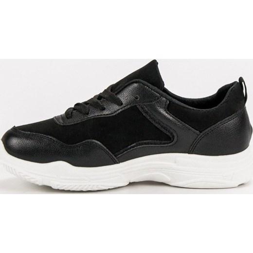 ac515891b3253b ... Buty sportowe damskie Shelovet czarne sznurowane bez wzorów na płaskiej  podeszwie ...