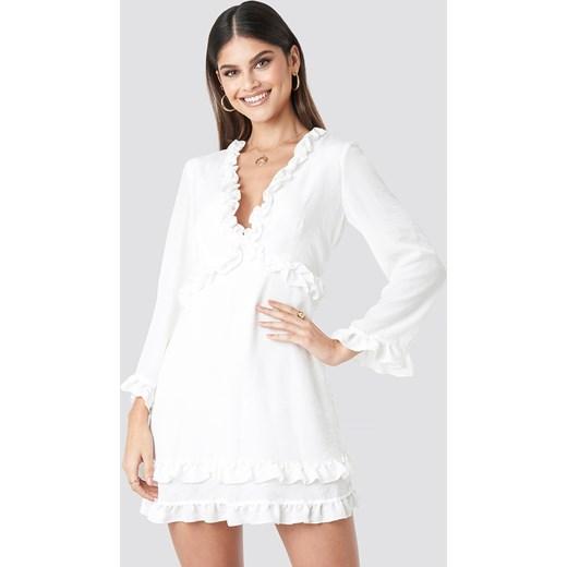 022730fb5d Sukienka NA-KD mini wiosenna z długim rękawem w Domodi