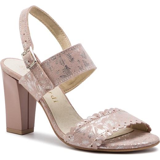 Sandały damskie Sergio Bardi z tworzywa sztucznego z klamrą z nadrukami eleganckie na obcasie Buty Damskie RT różowy Sandały damskie GWHV