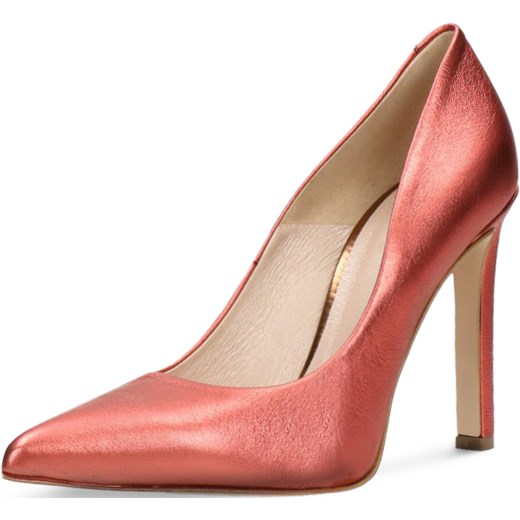 375f871d67a35 ... Różowe czółenka Gino Rossi eleganckie ze szpiczastym noskiem na szpilce  bez wzorów bez zapięcia ...