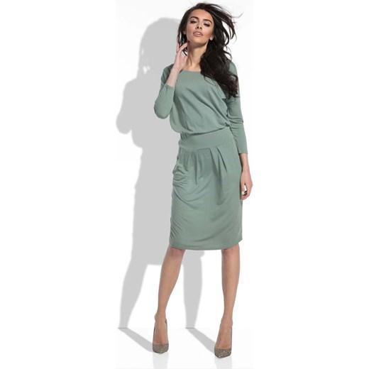 f286e906 Sukienka Coco Style na co dzień zielona midi z okrągłym dekoltem ołówkowa  gładka