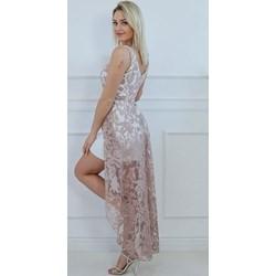1725d50fff962e Sukienka beżowa mini z poliestru bez rękawów