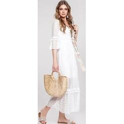 1ee54044a8 Sukienka biała Renee z długim rękawem trapezowa wiosenna