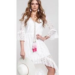 b4ed5da802 Sukienka Renee asymetryczna z żabotem z długimi rękawami