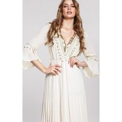 7e36b9f21a Sukienka Renee biała maxi na wiosnę trapezowa z długim rękawem