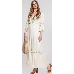 8e927da62b Sukienka Renee biała maxi na wiosnę trapezowa z długim rękawem