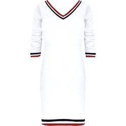 5de5c4a24c6882 Sukienka biała sportowa z krótkimi rękawami gładka na spacer