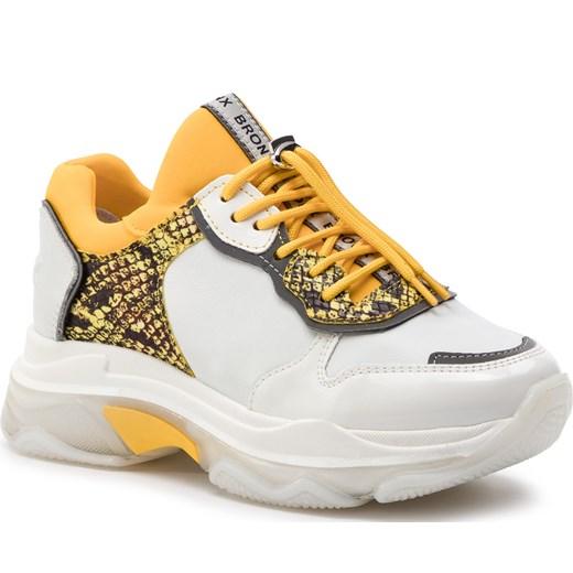 Sneakersy damskie Bronx na lato na platformie gładkie białe młodzieżowe
