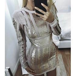 7e721bbc Sukienka w stylu glamour mini na sylwestra z aplikacjami dopasowana