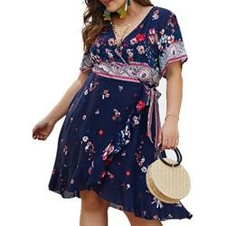 13843b175d Differenta.pl. Sukienka Elegrina w kwiaty niebieska wiosenna z krótkimi  rękawami na spacer