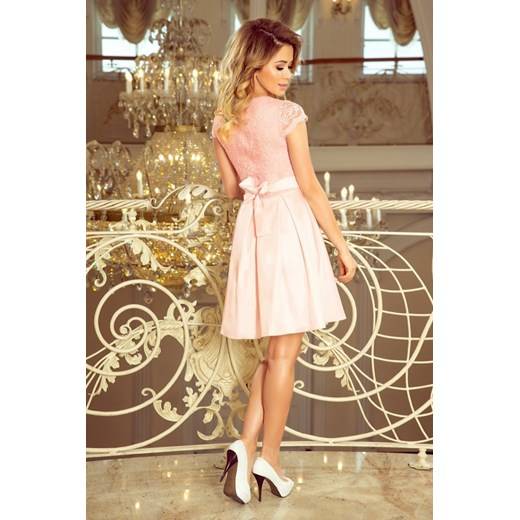 7e072aff48 Sukienka Numoco bez rękawów rozkloszowana różowa biznesowa mini ...