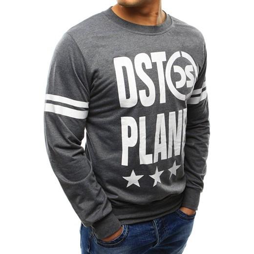 dobry Bluza męska Adidas z napisami szara młodzieżowa Odzież