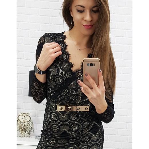 846eb19198 ... Sukienka Dstreet koronkowa z długimi rękawami czarna na randkę  dopasowana. Dstreet sukienka mini z dekoltem v czarna biznesowa ...