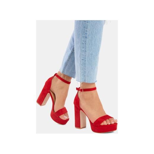 Sandały damskie DeeZee na platformie Buty Damskie RZ czerwony Sandały damskie UXRK