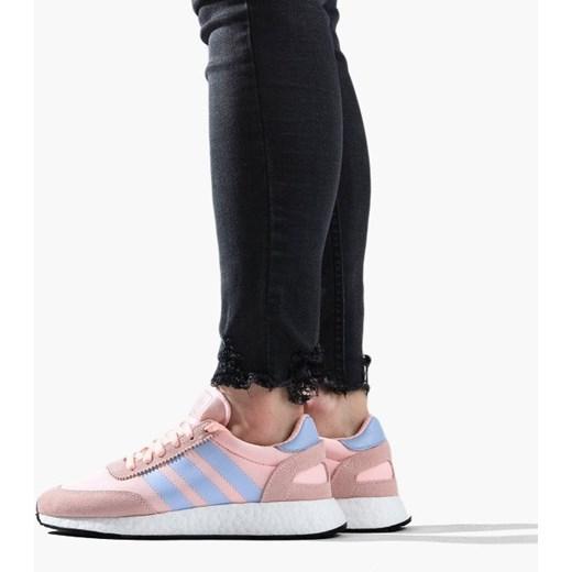 Buty sportowe damskie Adidas Originals na koturnie różowe wiązane bez wzorów