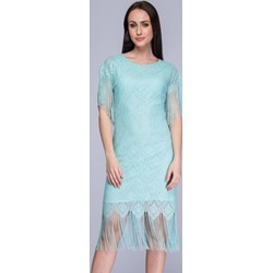 81808294 Sukienka Semper prosta z okrągłym dekoltem boho z krótkim rękawem