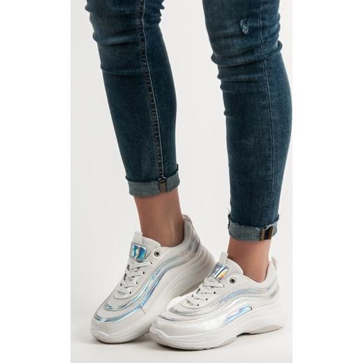 e97301f3 Sneakersy damskie CzasNaButy letnie białe młodzieżowe na platformie gładkie  sznurowane ...