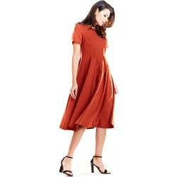 98bce323b5 Sukienka Awama midi rozkloszowana bez wzorów z krótkim rękawem