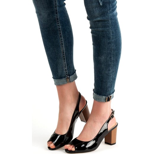 4e0e7789 ... Czarne sandały damskie Buty Goodin ze skóry ekologicznej ...