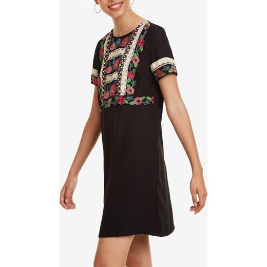 6fa484c90d Sukienka czarna Desigual na uczelnię z krótkimi rękawami mini z okrągłym  dekoltem casual ...