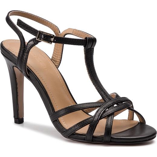 Czarne sandały damskie Kazar bez wzorów skórzane z klamrą na obcasie Buty Damskie YL czarny Sandały damskie FOET