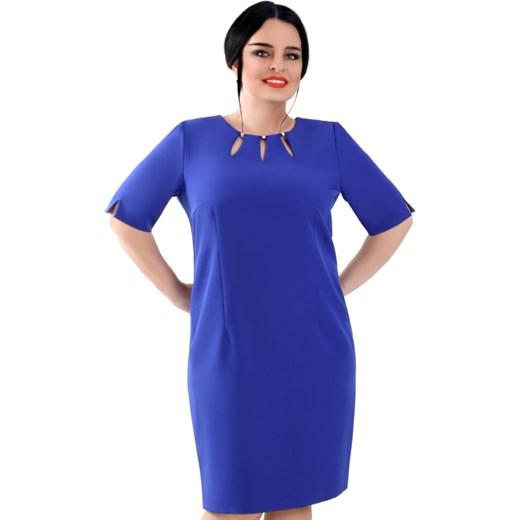 1db36a7da9 Sukienka niebieska Lamar gładka z krótkim rękawem elegancka w Domodi